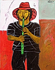 Flautist-with-red-hat-14x11-acrylic-on-canvas-Francisco-Vidal