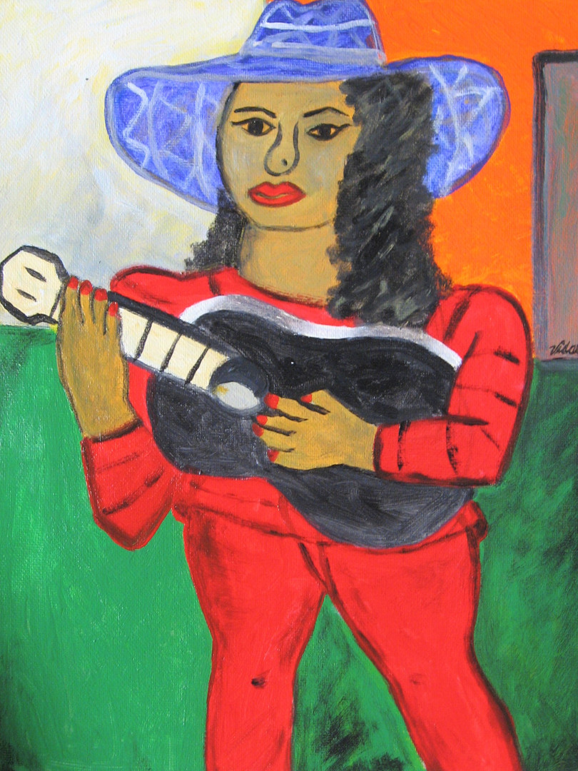 Girl with a black guitar 19 acryliconcan