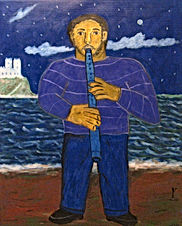 Flautist-on-the-beach-30-x-28-acrylic-on-canvas-Francisco-Vidal-jpeg