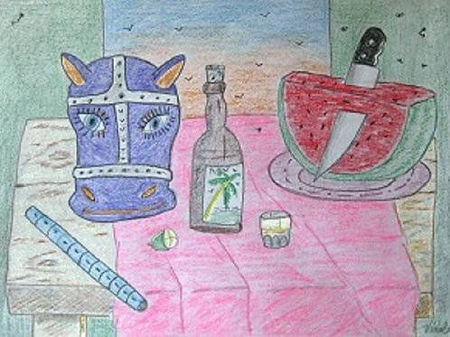 Donkey Mask, bottle ron, watermelon on a table