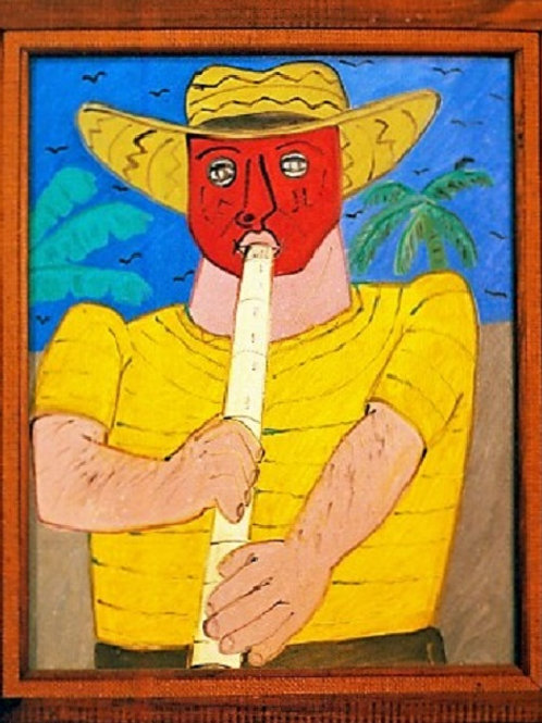 Flautist with red mask