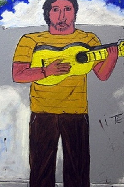 Music with yellow guitar