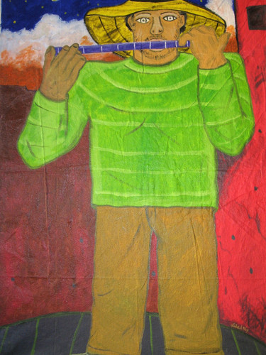 Man with Blue Flute19acrylic canvas 48x3