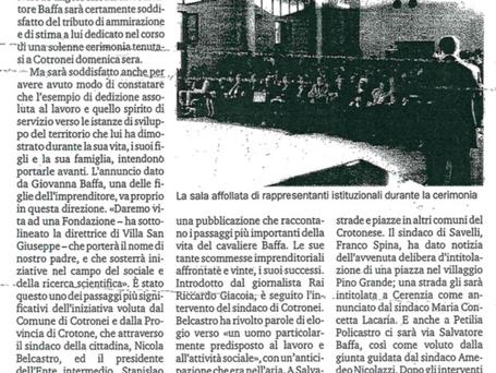 Salvatore Baffa, iniziative sociali.