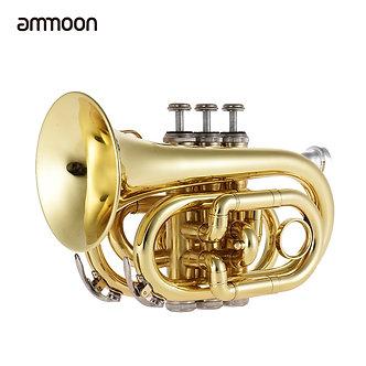Ammoon Mini Pocket Trumpet Bb Flat Brass Wind Instrument With Mouthpiece Gloves