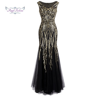Angel-Fashions Bateau Boat Neck Vintage Golden Sequin Ball Gown Long Prom Dresse