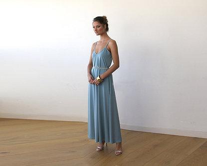 Aqua Blue Maxi Dress With Thin Straps 1026