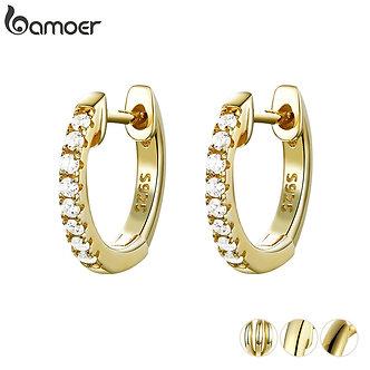 BAMOER Genuine 925 Sterling Silver Round Circle Hoop Earrings for Women Gold