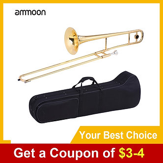 Ammoon Alto Trombone Brass Gold Lacquer Wind Instrument Bb Tone B Flat