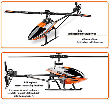 WLtoys V950 2.4G 6CH 3D / 6G RC Helicopter Airplane Flybarless Brushless Motor