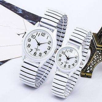 1PCs Fashion Vintage Business Women Men Elastic White Black Quartz Watch Tide