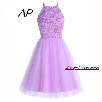 ANGELSBRIDEP Short Lilac Homecoming Dresses 2021 Mini Beading Homecoming Dress
