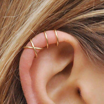 5Pcs/Set Stainless Steel C Shape Cross Clip Ear Cuffs Gold Leaf Ear Clip