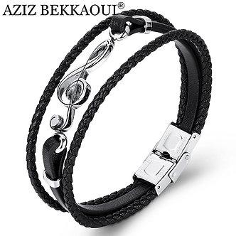 AZIZ BEKKAOUI Unique Punk Stainless Steel Musical Notes Bracelets Male Leather