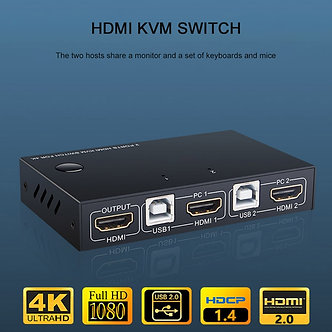 2 Port HDMI USB KVM 4K Switcher Splitter for Sharing Monitor Keyboard Mouse