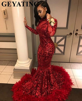 2021 Red Plus Size Long Sleeve Mermaid African Prom Dresses With Feathers Train
