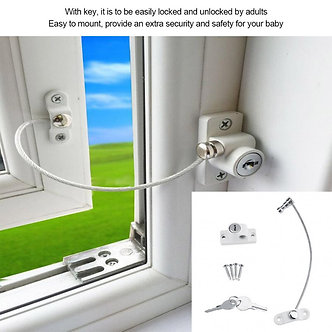Baby Child Safety Window Door Opening Restrictor Security Cable Lock 19cm