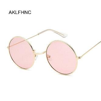 2019 Retro Round Pink Sunglasses Women Brand Designer Sun Glasses for Women