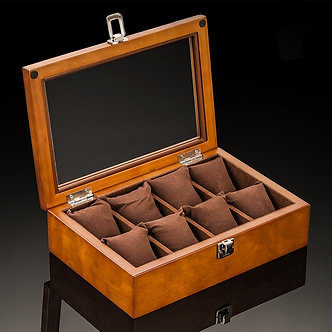 8 Slots Watch Boxes Case New Coffee Wood Watch Organizer With Glass Mechanical
