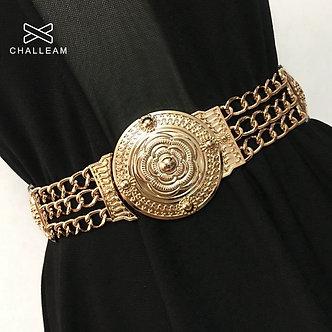 2021 Women Flower Gold Belts Fashion Ladies Floral Elastic Metal Women Waist