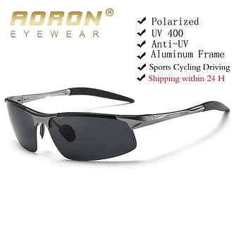 AORON Driving Polarized Sunglasses Men Aluminum Magnesium Frame Sport Sun