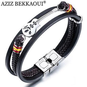 AZIZ BEKKAOUI Dropshipping Stainless Steel Guitar Bracelets Personalized Leather