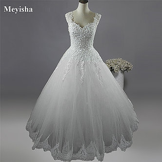 2020 2021 White Ivory Pearls Wedding Dresses With Lace Bottom