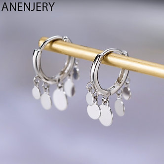 Anenjery Ins Round Disc Tassel Earrings for Women S925 Stamp Silver Color