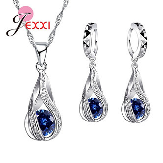 8 Colors Best Gift for Women Girls Friends 925 Sterling Silver Jewelry Set CZ