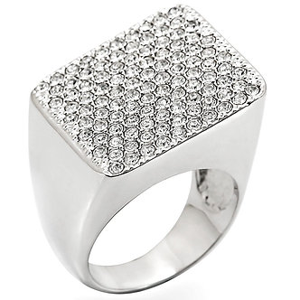 1W035 Rhodium Brass Ring With Top Grade Crystal in Clear
