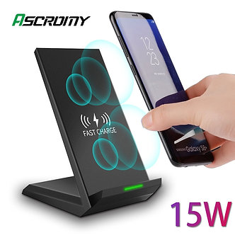15W Qi Fast Wireless Charger for Samsung S10 9 Plus Note10 iPhone Xr 11 Pro Max