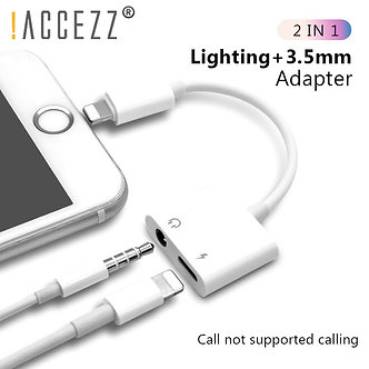 !ACCEZZ 2 in 1 Lighting Charger Listening Adapter for Iphone X 7 Charging