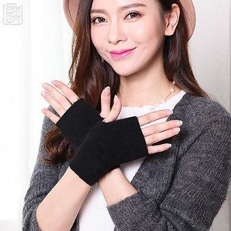 2019 Mink Cashmere Autumn Winter Gloves Half Finger Warm Wool Wrist Sleeves Have
