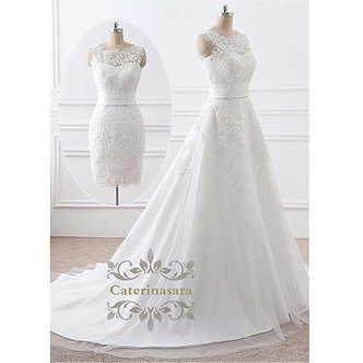 2 in 1 Removable Skirt Wedding Dresses A-Line Lace Appliques Bride Gown Short