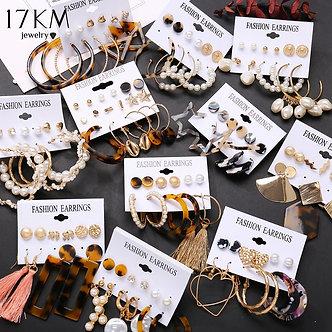 17KM Vintage Tassel Acrylic Earrings for Women Bohemian Earrings Set Big Dangle
