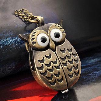 Antique Vintage Bronze Cute Owl Pocket Watch Fob Chain Necklace Pendant Flip