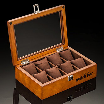 8 Slots Wooden Watch Boxes Coffee Watch Storage Case With Glass Watch