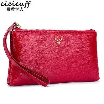 2020 New Zipper Clutch Bag Wallet Genuine Leather Mobile Phone Bag Elk