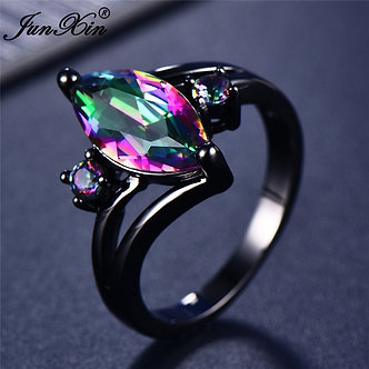 12 Color Unique Mystery Female Girls Rainbow Ring Fashion 14KT Black Gold