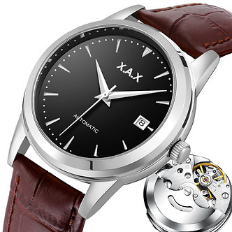 Automatic SelfWind Men Watch Stainless Steel Transparent Back Cover Case