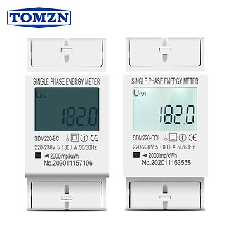 80A Din Rail Single Phase Two Wire LCD Digital Display Power Consumption