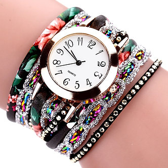 1PCs Women Fashion Quartz Watch Bohemia Luxury Bracelet Flower Gemstone