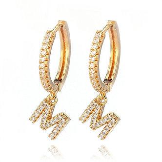 1 Pair Fashion Cubic Zircon Initial A-Z Letter Earrings DIY Alphabet Huggies
