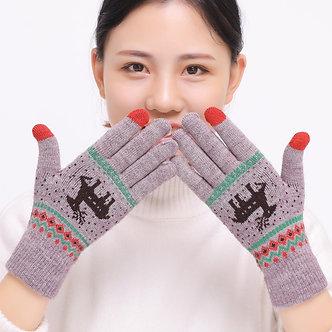 2018 Women's Cute Elk Deer Snowflake Knitted Gloves Full Finger Winter Gloves