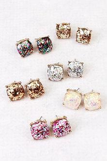 24865 - Cushion Glitter Earrings