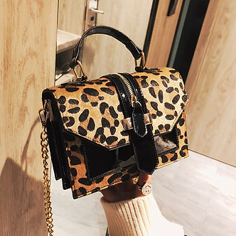 2019 Women's Leopard PU Leather Shoulder Bags Lady Solid Black and Burgundy