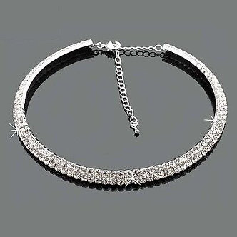 2017 Time-Limited Collares Collier Maxi Necklace 2-Row Bling Diamante Crystal