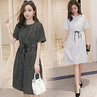 995# Vertical Striped Maternity Nursing Dress Summer Fashion Slim Waist Clothes