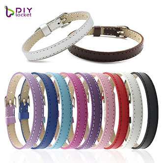 10PCS 8MM Artificial Leather DIY Wristband Bracelets Femme Mix Color Charms