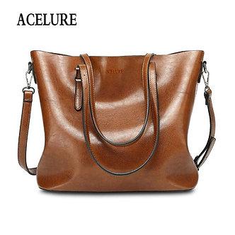 ACELURE Women Shoulder Bag Fashion Women Handbags Oil Wax Leather Large